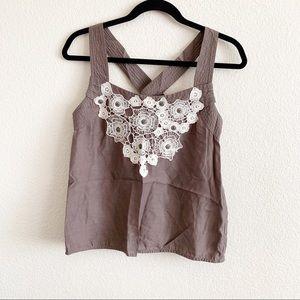 Floreat Sz 6 Criss Criss Brown Tank Crochet Lace